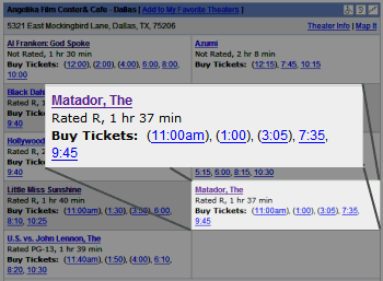 Movie listings for The Angelika — October 1st 2006