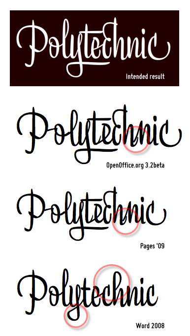 """Liza Display Pro—Attempts at the word """"Polytechnic"""" with OpenOffice.org 3.2beta, Pages '09, and Word 2008"""