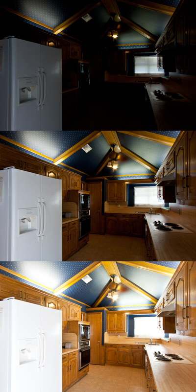 Pre-HDR-processing bracketing sequence I used for Bryan and Lyn's kitchen